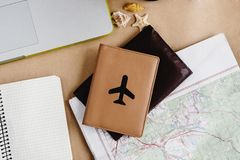 Time to plan travel concept, stylish notebook map watch and pass Royalty Free Stock Image