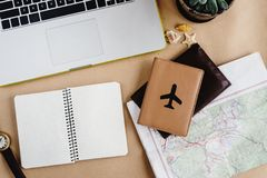 Time to plan travel concept, stylish notebook map watch and pass Stock Photos