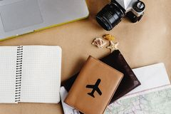 Time to plan travel concept, stylish passport with plane, map wa Stock Image