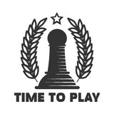 Time to play chess club emblem with black pawn illustration Royalty Free Stock Photography