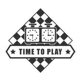 Time to play chess logotype isolated on white. Time to play chess logotype with two special clocks against board with white and black squares for playing. Vector Stock Photo