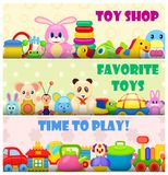 Time to Play with Favourite Toys Colorful Poster stock illustration