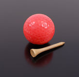 Time To Play Some Golf. Gold Ball And Golf Tee Royalty Free Stock Images