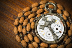 Time to Pray - Pocket Watch and Crucifix Stock Photos