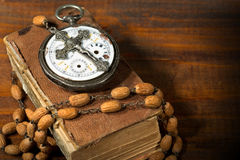 Time to Pray - Watch Crucifix and Bible Royalty Free Stock Photos