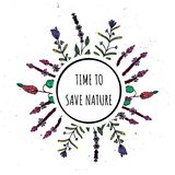 Time to preserve nature. Vector illustration with circle and plants. Take care of nature royalty free illustration