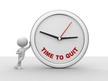Time to Quit clock. 3d people - man, person and a clock - Time to Quit clock Royalty Free Stock Photo
