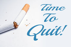 Time To Quit Smoking Reminder With Broken Cigarette In Whitebox Stock Image