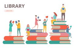 Free Time To Read Vector Concept. Library, Self Education, Students With Books Illustration Royalty Free Stock Image - 146740706