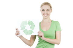 Time to recycle!. Young woman holding recycling symbol Stock Photography