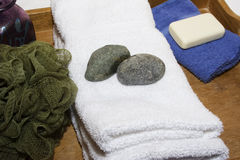 Time to relax. Spa supplies white towel time to relax Stock Photo