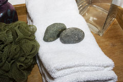 Time to relax. Spa supplies white towel time to relax Royalty Free Stock Photography
