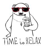 Time to relax. Cocktail bear portrait Time to relax, vector illustration Royalty Free Stock Photography