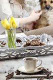 Time to relax: cup of coffee on the table Stock Image