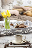 Time to relax: cup of coffee on the table Stock Photography