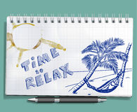 Time to relax sketch with palm and hammock Stock Photography