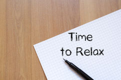 Time to relax write on notebook Stock Images