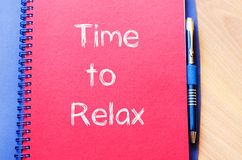 Time to relax write on notebook Royalty Free Stock Photos