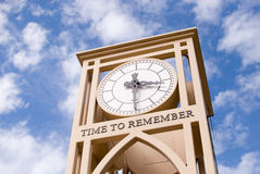 Time To Remember. Clock against blue sky with Time to Remember Saying Royalty Free Stock Photos