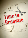 Time to renovate. An illustration of a vintage clock with the words time to renovate Royalty Free Stock Photo