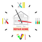 Time to repair home concept. Watch dial is a tools for repairing. Professional  remodel services logo. Royalty Free Stock Photography