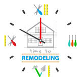 Time to repair home concept. Watch dial is a tools for repairing. Professional  remodel services logo. Royalty Free Stock Photos