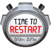 Time to Restart Stopwatch Timer Redo Refresh Reinvent. Time to Restart on a stopwatch or timers to illustrate a redo, rebuild, refresh, renew, revitalization or Stock Image