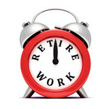 Time to retire concept red clock on white Royalty Free Stock Photo