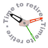 Time to retire. Start retirement plan to enjoy carefree golden years with full retirement funds isolated clock indicating time with text Stock Image