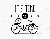 It is time to ride hand made illustration for poster in vintage hipster style Royalty Free Stock Photos