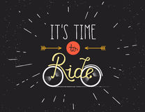 It is time to ride hand made illustration for poster in vintage hipster style Royalty Free Stock Photo