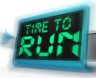 Time To Run Digital Clock Means Under Pressure And Must Leave Royalty Free Stock Images
