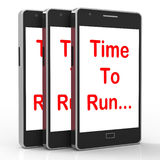 Time To Run Smartphone Means Short On Time And Rushing Stock Photography