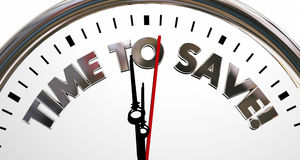 Time to Save Clock Sale Savings Money Words Stock Photos