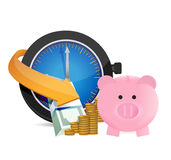 Time to save money. concept illustration Royalty Free Stock Photos