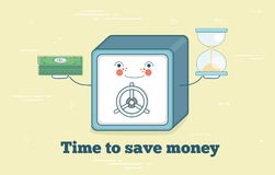 Time to save money concept in line art style. Time to save money trendy concept in line art style. Banking and finance, ecommerce service sign, business Royalty Free Stock Photography