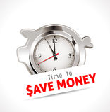 Time to save money. Illustration with a piggy bank clock on a white background Royalty Free Stock Photography
