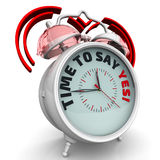 Time to say YES! The alarm clock with an inscription Stock Photography