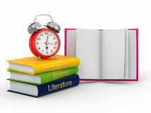 Time to school. Textbook and alarm clock. 3d Stock Photography