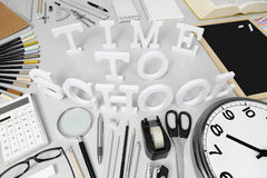 Time to school word on the desk with stationery Stock Photo