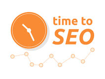 Time to SEO word combined with clock and graph. Vector illustration Royalty Free Stock Photography