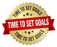 Time to set goals. Gold badge with red ribbon stock illustration