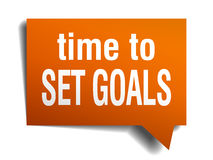 Time to set goals orange speech bubble. On white Stock Images