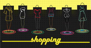 Time to shopping!. Signboard of new fashionable shop of clothes Stock Illustration