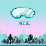Time to ski. Sunglass with reflection of mountains. royalty free stock photography