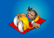 Time to sleep. Little boy sleep on his mattress Royalty Free Stock Images