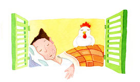 Time to sleep. With the hen Stock Images