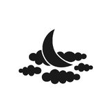 Time to sleep icon. Moon and clouds. Vector Royalty Free Stock Photos