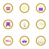 Time to sleep icons set, cartoon style Royalty Free Stock Photography