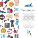 Time to sport flat banner. With fitness and health icons vector illustration. Healthy lifestyle diet food training and sport equipment symbols. Copy space in Royalty Free Stock Image